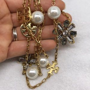 Tory Burch long necklace with pearls and cross